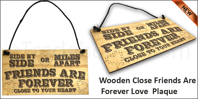Wooden Close Friends Are Forever Love Best Friendship Heart Gift Hanging Wooden Plaque