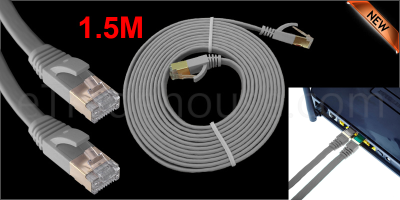 1.5 Meter Flat RJ45 CAT7 Ethernet Network Cable LAN Patch Cord SSTP Gigabit