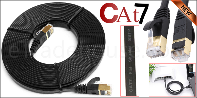 10 Meter Flat RJ45 CAT7 Ethernet Network Cable LAN