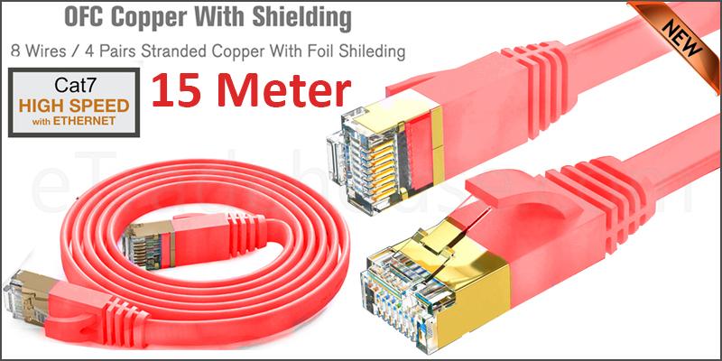 Flat CAT7 Ethernet Network Cable LAN Patch Cord SSPT Gigabit Lot 15M  red color