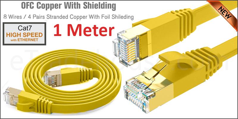 Flat CAT7 Ethernet Network Cable LAN Patch Cord SSPT Gigabit Lot 1M yellow color