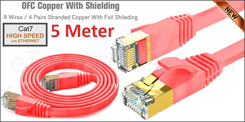 Flat CAT7 Ethernet Network Cable LAN Patch Cord SSPT Gigabit Lot 5M red color