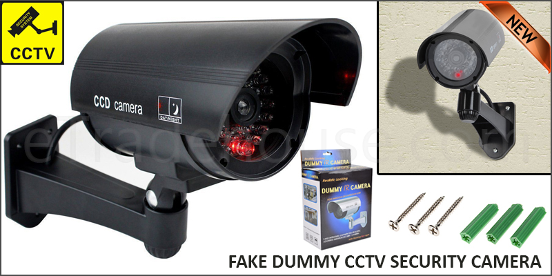 Fake Dummy CCTV Security Camera Flickering Red LED Indoor Outdoor Surveillance