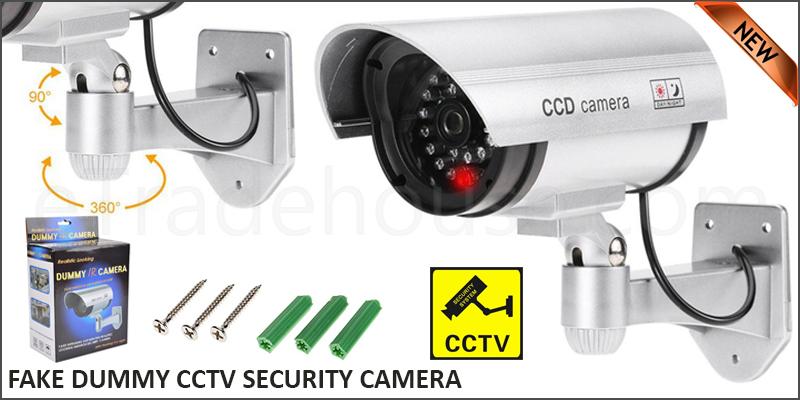 Fake Dummy CCTV Security Camera Flickering Red LED Indoor Outdoor Surveillance
