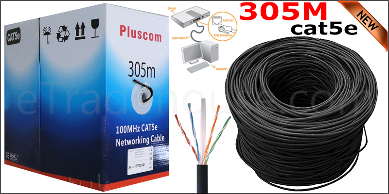 305Meters FTP cat5e 0.5mm CCA network cable (Black color)