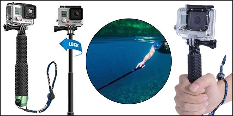 Extendable Pole Hand Grip Monopod Selfie Stick for GoPro Hero 4, 3+, 3, 2, 1 Camera