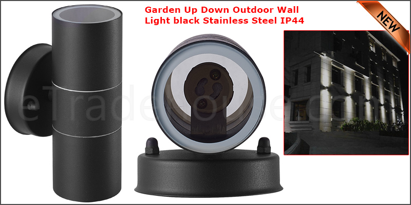 Waterproof Stainless Steel Up Down GU10 IP44 Double Indoor Outdoor Wall Light Black