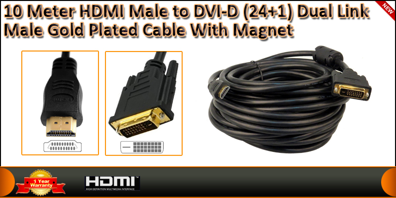 10 Meters HDMI Male to DVI-D (24+1) Dual Link Male