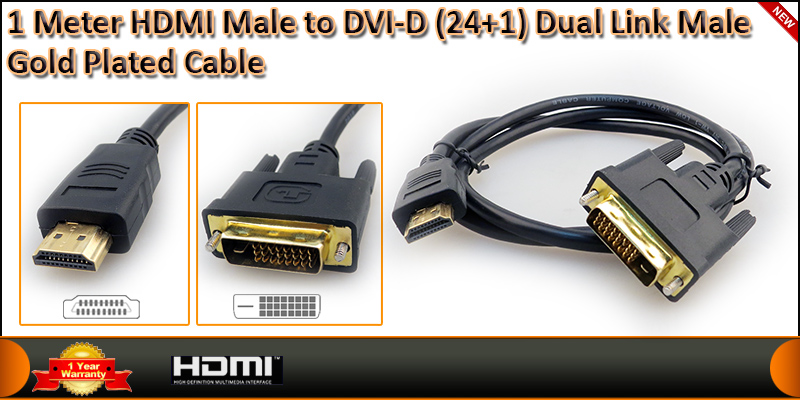 Gold Plated 1 Meter HDMI (19 Pin) Male to DVI-D (2