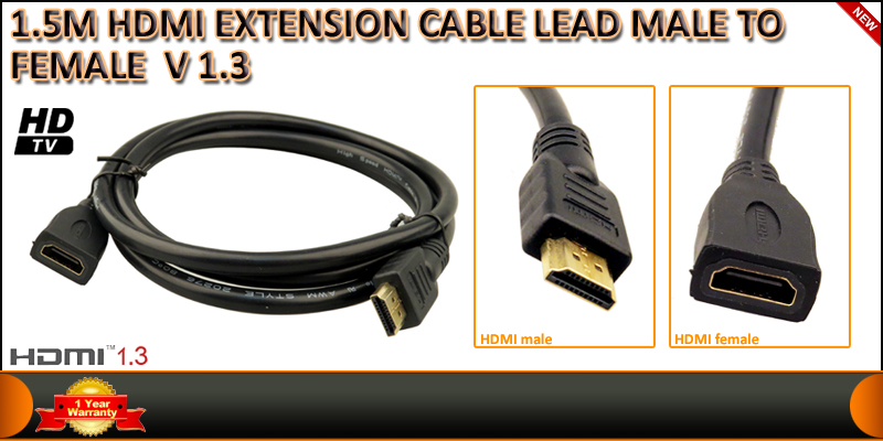 1.5 Meters HDMI Male to female 19 Pin Gold Plated