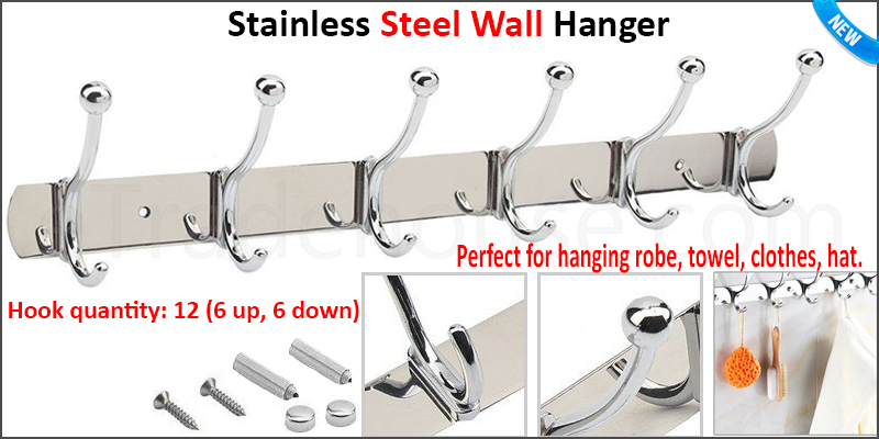 6/6 Hooks Coat Hat Clothes Robe Holder Rack Hook Wall Hanger Stainless Steel