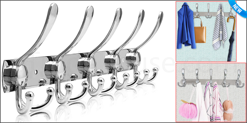 10/15 Stainless Steel Hooks Coat Hat Clothes Robe