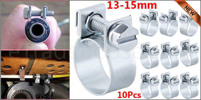 10 x Mini Fuel Line Jubilee Hose Clips Clamp Diesel Petrol Pipe Coolant Radiator 13-15mm