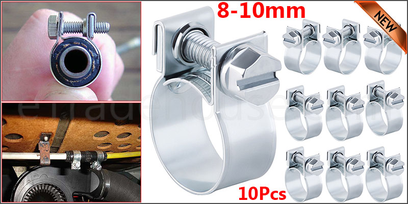 10 x Mini Fuel Line Jubilee Hose Clips Clamp Pipe Diesel Petrol Coolant Radiator