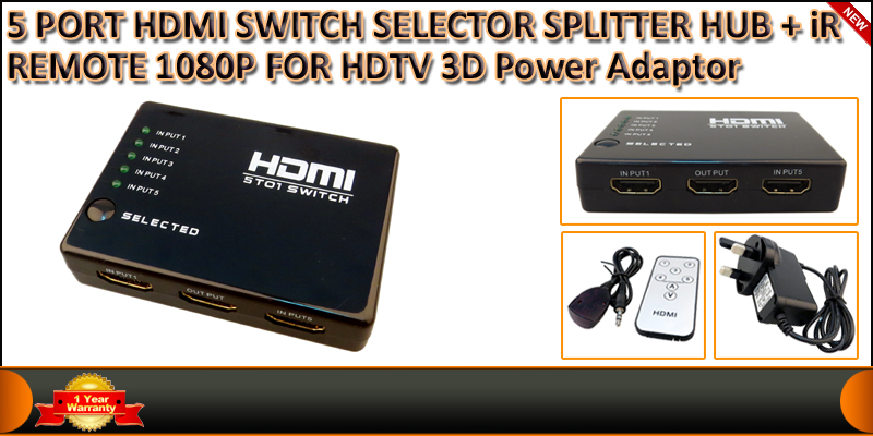 High Speed 1080p HDMI Switch 5 Port with IR Wirele