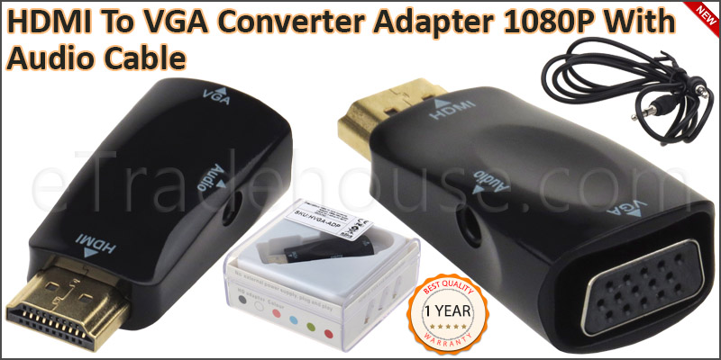 HDMI TO VGA Converter Adapter 1080P With Audio Cab