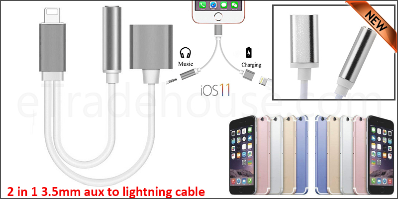 2 in 1 3.5mm Audio Aux Lightning Charge USB Port Cable for iPhone 5, 6, 7, 8 & iPhone X