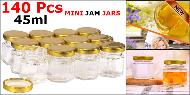 140 X 45ML MINI JAM JARS HONEY CHUTNEY PRESERVE PICKLE GLASS FOOD WEDDING FAVOUR