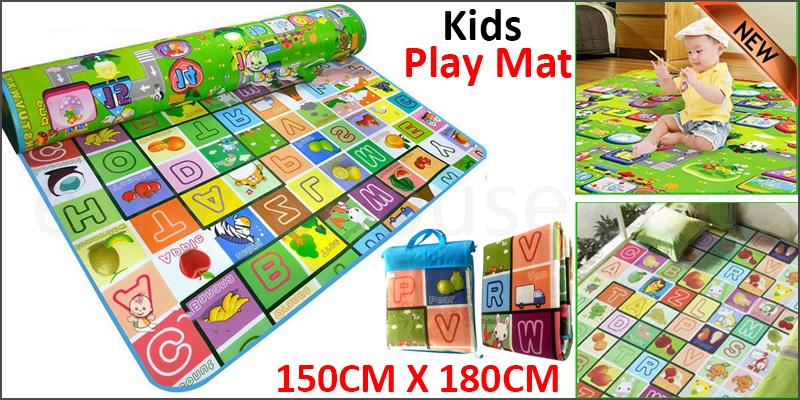 2 SIDE KIDS CRAWLING EDUCATIONAL GAME PLAY MAT SOFT FOAM PICNIC CARPET 150*180CM