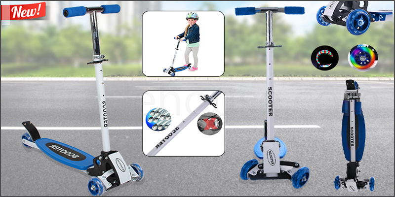 90cm Tri Folding Outdoor Kids Child Kick Push Scooter with 4 LED Wheel
