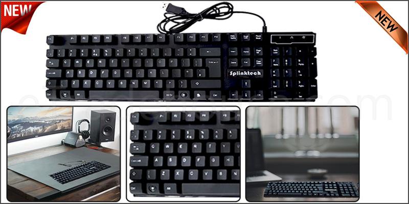 Splinktech Gaming Keyboard USB Wired Backlit Backlight Illuminated Multimedia for PC Laptop