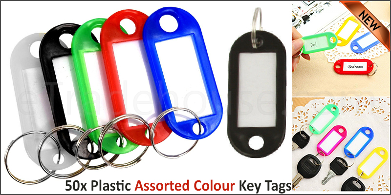 Pack of 50 Plastic Colour Key Tags with Paper Inserts Split Rings