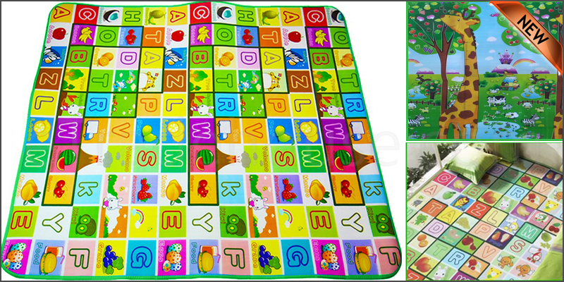 2 Side Kids Crawling Educational Alphabets Animal Game Play Mat