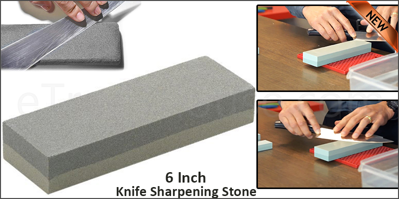 6 Inch Double Sided Knife Sharpening Stone Fine Medium Grit Whetstone