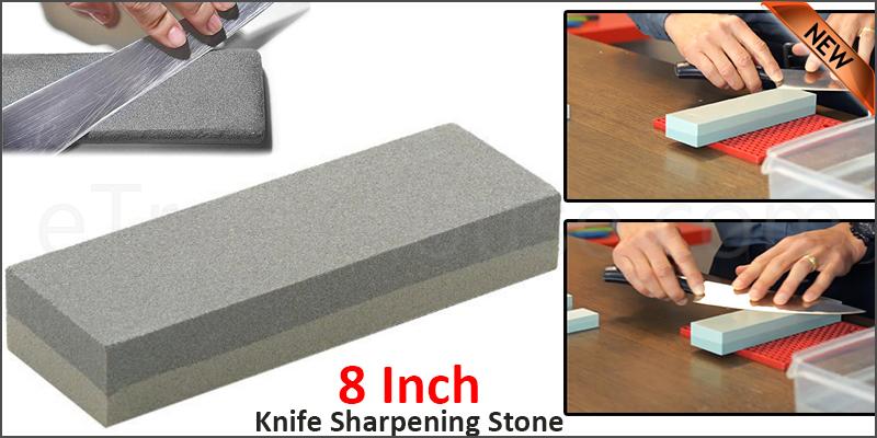8 Inch Double Sided Knife Sharpening Stone Fine Medium Grit Whetstone