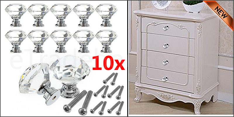 10x Clear 30mm Crystal Diamond Diamonte Handles Door Knob Drawer Cupboard Wardrobe