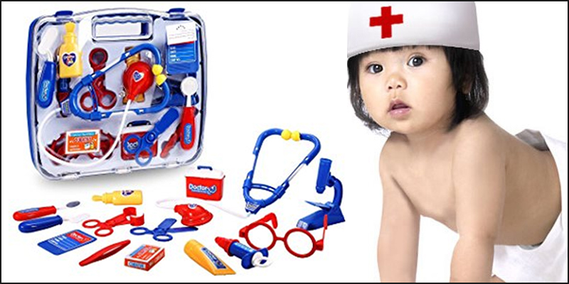 Blue Childrens Kids Role Play Doctor Nurses Toy Set Medical Kit