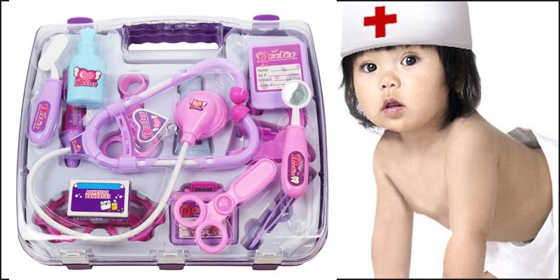 Pink Childrens Kids Role Play Doctor Nurses Toy Set Medical Kit