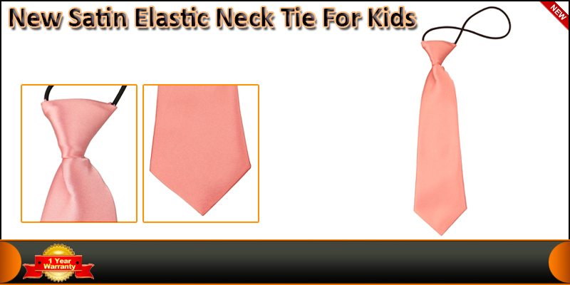 New Satin Elastic Neck Tie For Kids