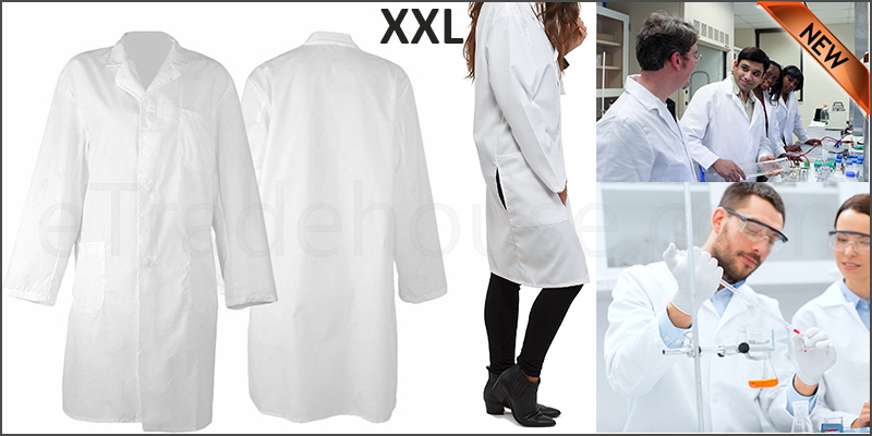 Lab Coat Hygiene Food Industry warehouse Laboratory Doctors Medical coat White Double Extra Large