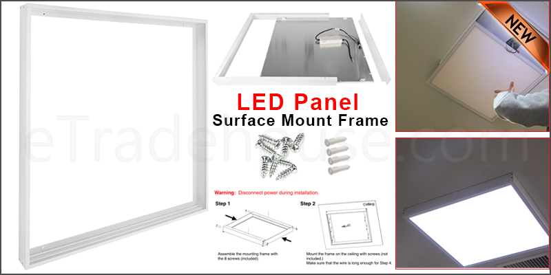 Surface Mount Kit for 600 x 600 LED Ceiling Panel Box Frame White Body