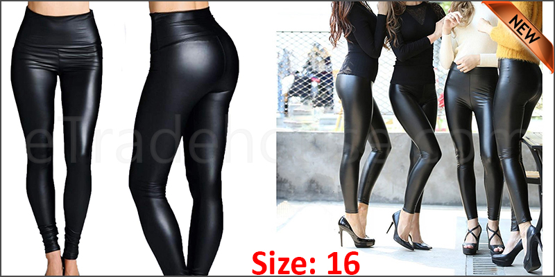 Ladies High Waist Black Faux Leather Leggings Wet Look Shiny Stretchy Tight Pant UK  Size 16