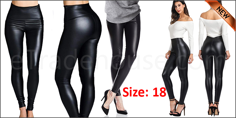 Ladies High Waist Black Faux Leather Leggings Wet Look Shiny Stretchy Tight Pant UK  Size 18