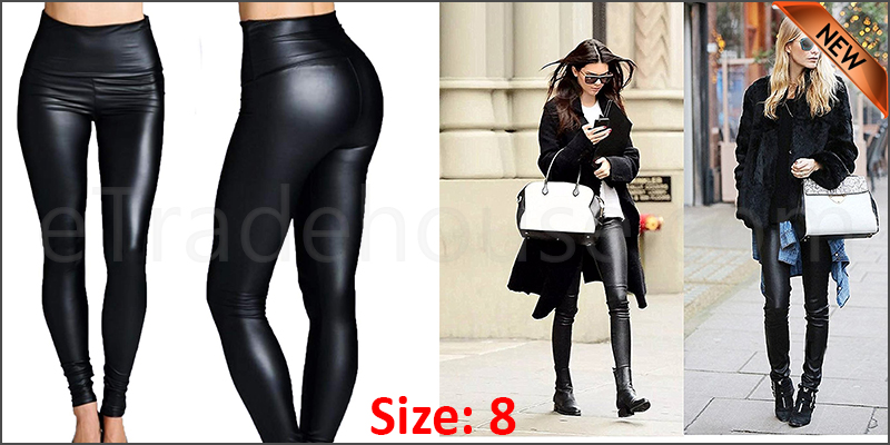 Ladies High Waist Black Faux Leather Leggings Wet Look Shiny Stretchy Tight Pant UK  Size 8