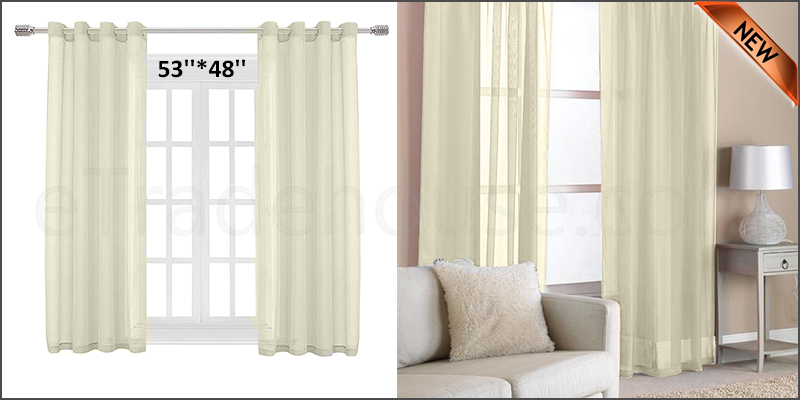 Eyelet Ring Top Slot Net Voile Curtains Panel