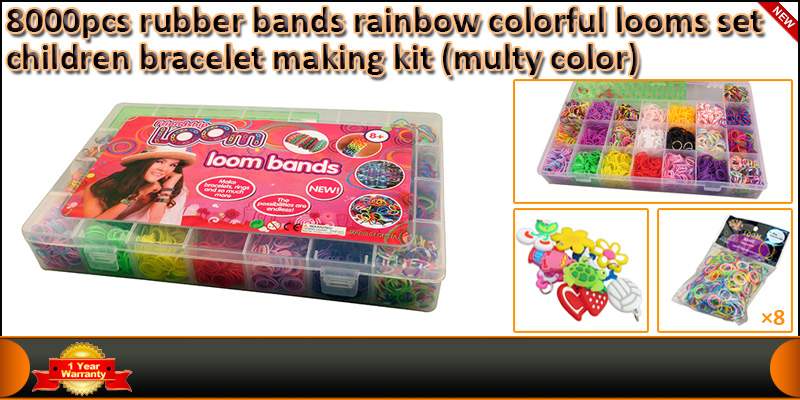 8000 Rainbow Coloured Loom Rubber Band Bracelet S