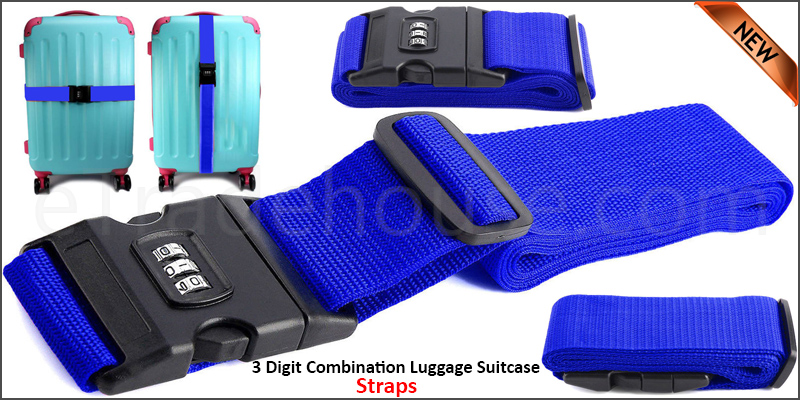 Adjustable 3 Digit Combination Luggage Suitcase Straps Baggage Tie Down Belt