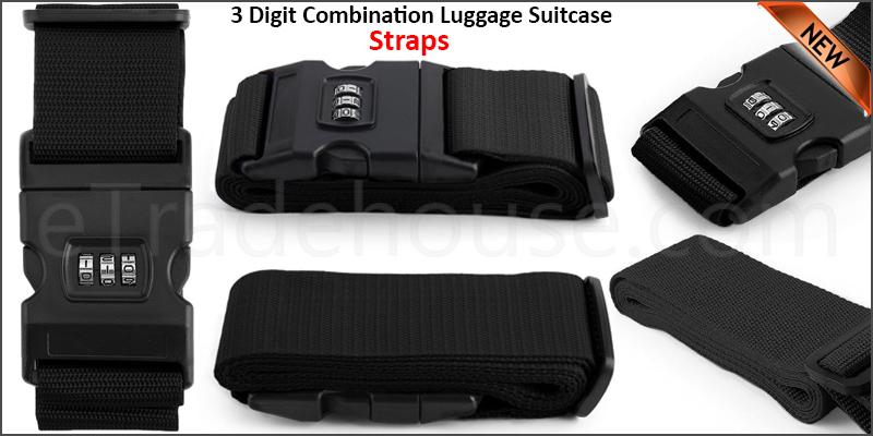 Adjustable 9 Digit Combination Luggage Suitcase Straps Baggage Tie Down Belt
