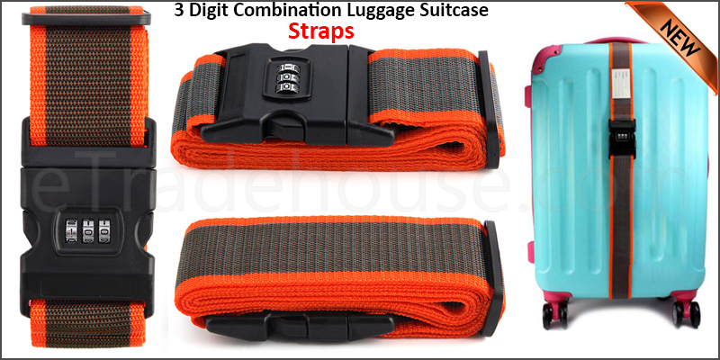 Adjustable 7 Digit Combination Luggage Suitcase Straps Baggage Tie Down Belt