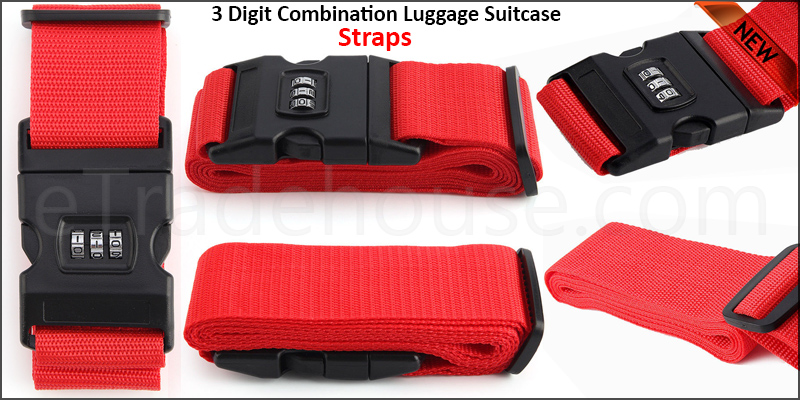 Adjustable 8 Digit Combination Luggage Suitcase Straps Baggage Tie Down Belt