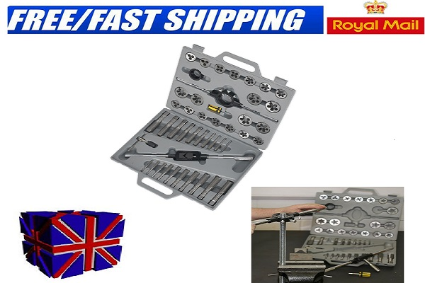 45 piece engineer mechanic tap die tool kit metric cutter set