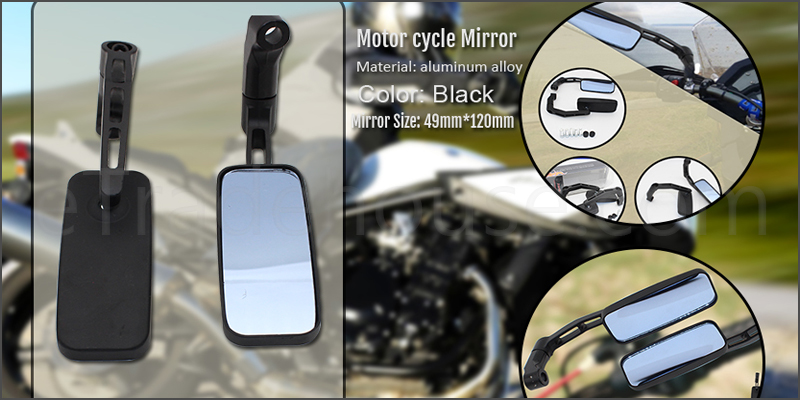 Pair of Adjustable Rectangle Aluminum Alloy Convex Glass Motor cycle Mirror Black