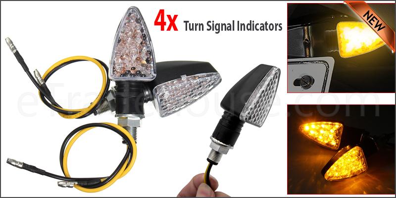 4PCS 12V 15 LED Motorcycle Motorbike Turn Signal Light Turning Indicators