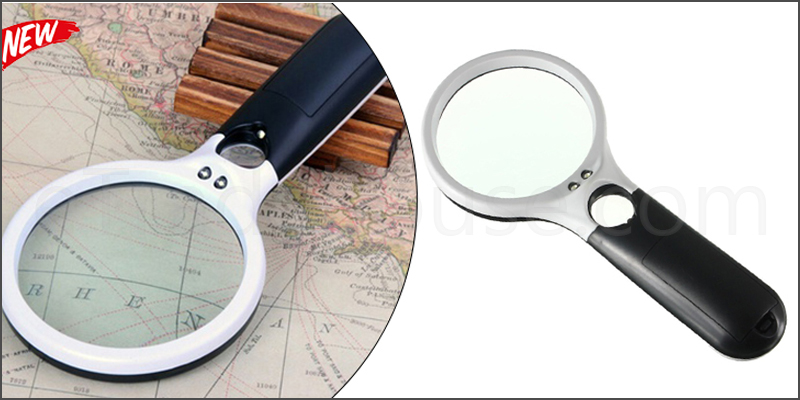 Magnifying Glass 45x Handheld Magnifier Reading Magnifying Glass Jewelry Loupe with 3 LED Light