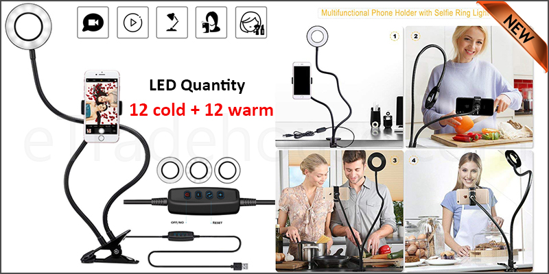 Selfie 24x LED Ring Flash Fill Light USB Clip Camera Mobile Phone Long Arm Holder