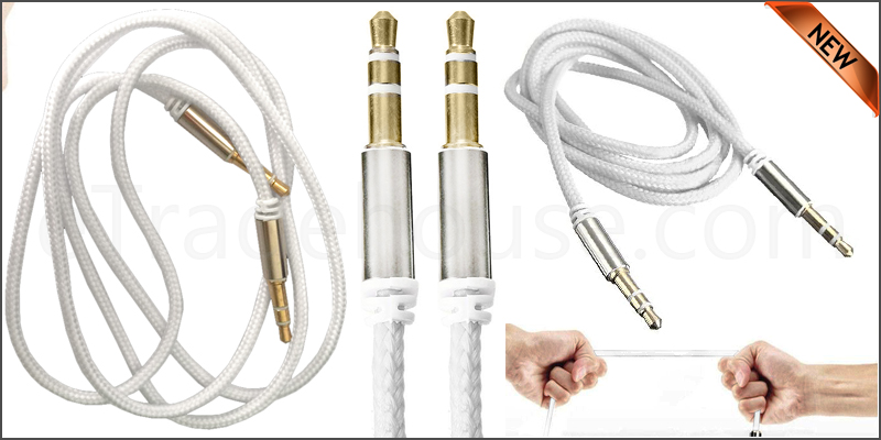 Universal 3.5mm Jack to Jack Braided Male Aux Cabl